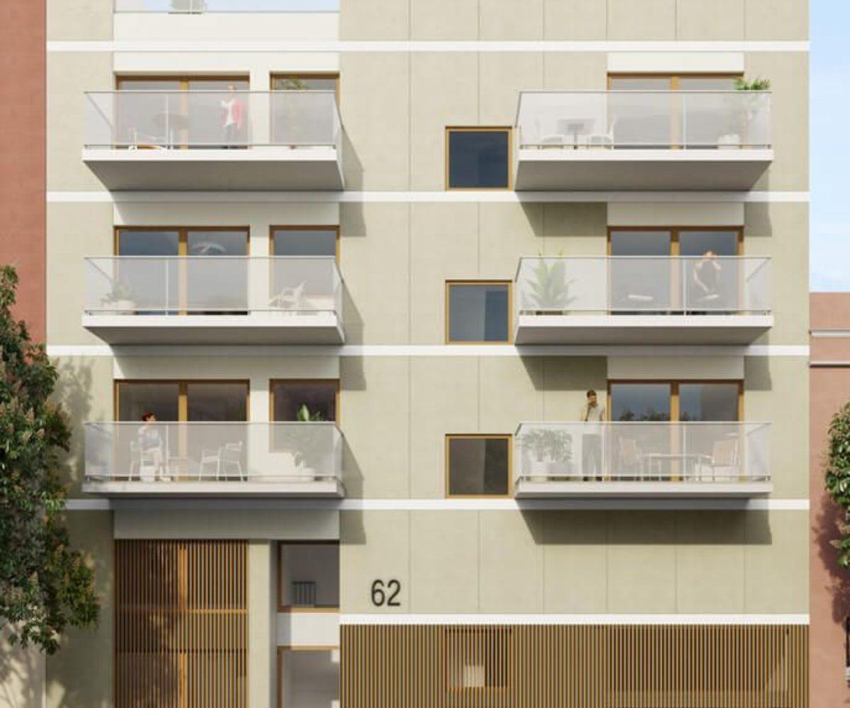 Promoción de 10 viviendas de pisos y áticos con terraza situados en El Guinardó.